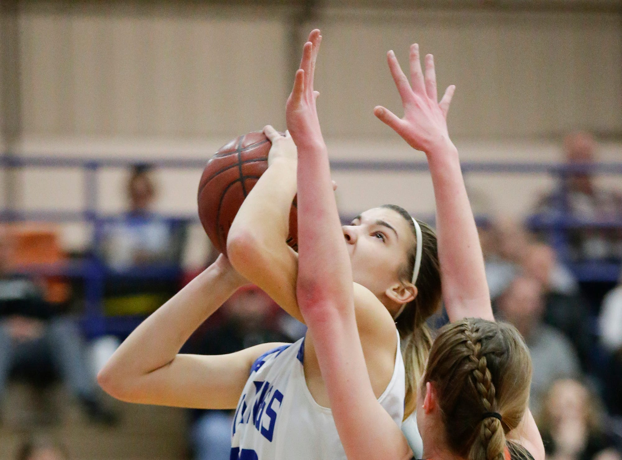 Winnebago Lutheran Academy girls basketball's Kaylee Frey goes up for a shot against North Fond du Lac High School's Rebecca Kingsland January 10, 2019 during their game in Fond du Lac. Doug Raflik/USA TODAY NETWORK-Wisconsin