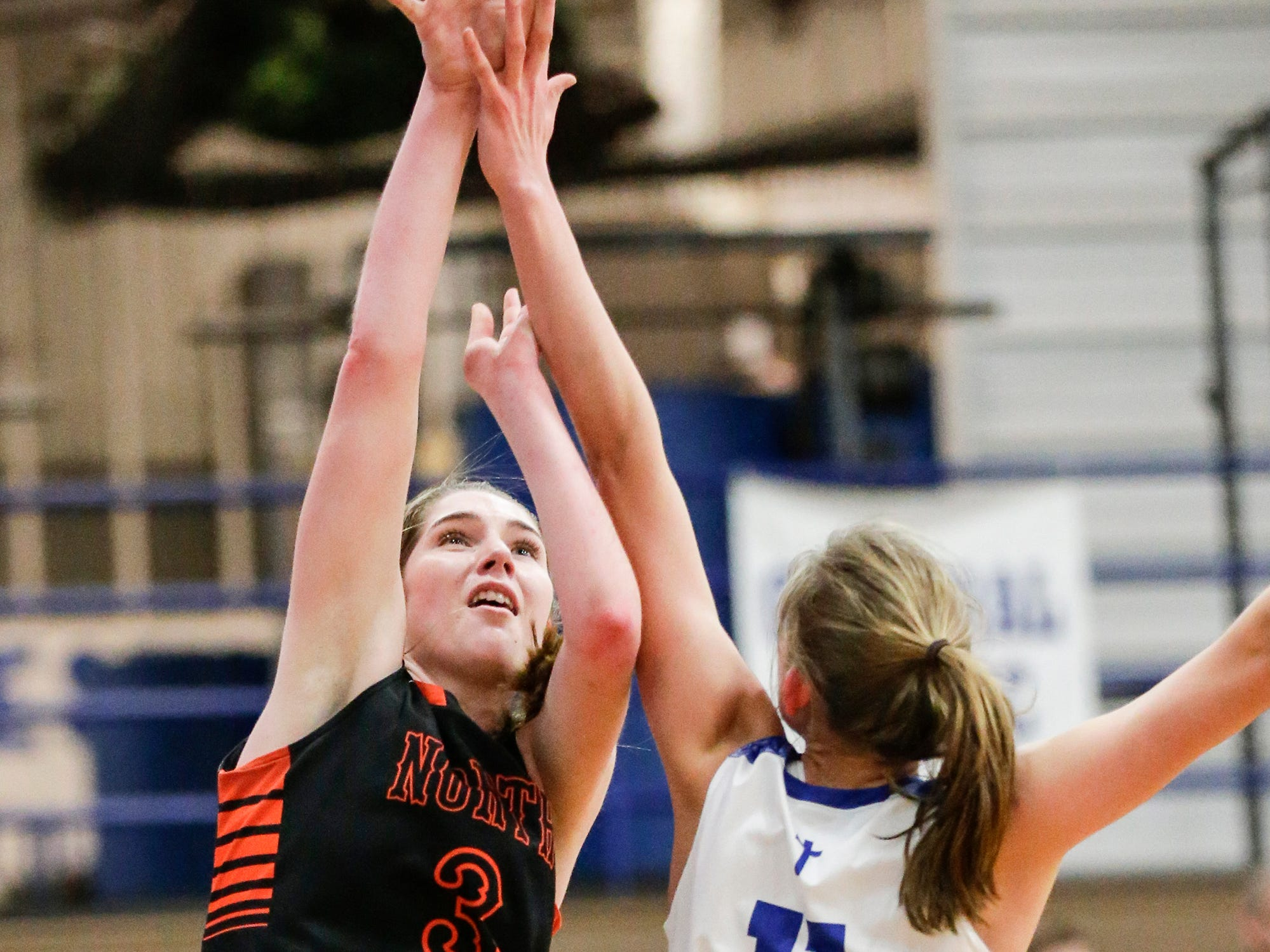 North Fond du Lac High School girls basketball's Rebecca Kingsland goes up for a basket over  Winnebago Lutheran Academy's Alyssa Lorenz January 10, 2019 during their game in Fond du Lac. Doug Raflik/USA TODAY NETWORK-Wisconsin