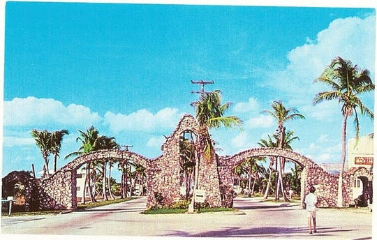 A postcard shows the original Fort Myers Beach arches.