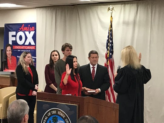 Amira Fox is sworn in as State Attorney for the 20th judicial circuit of Florida.