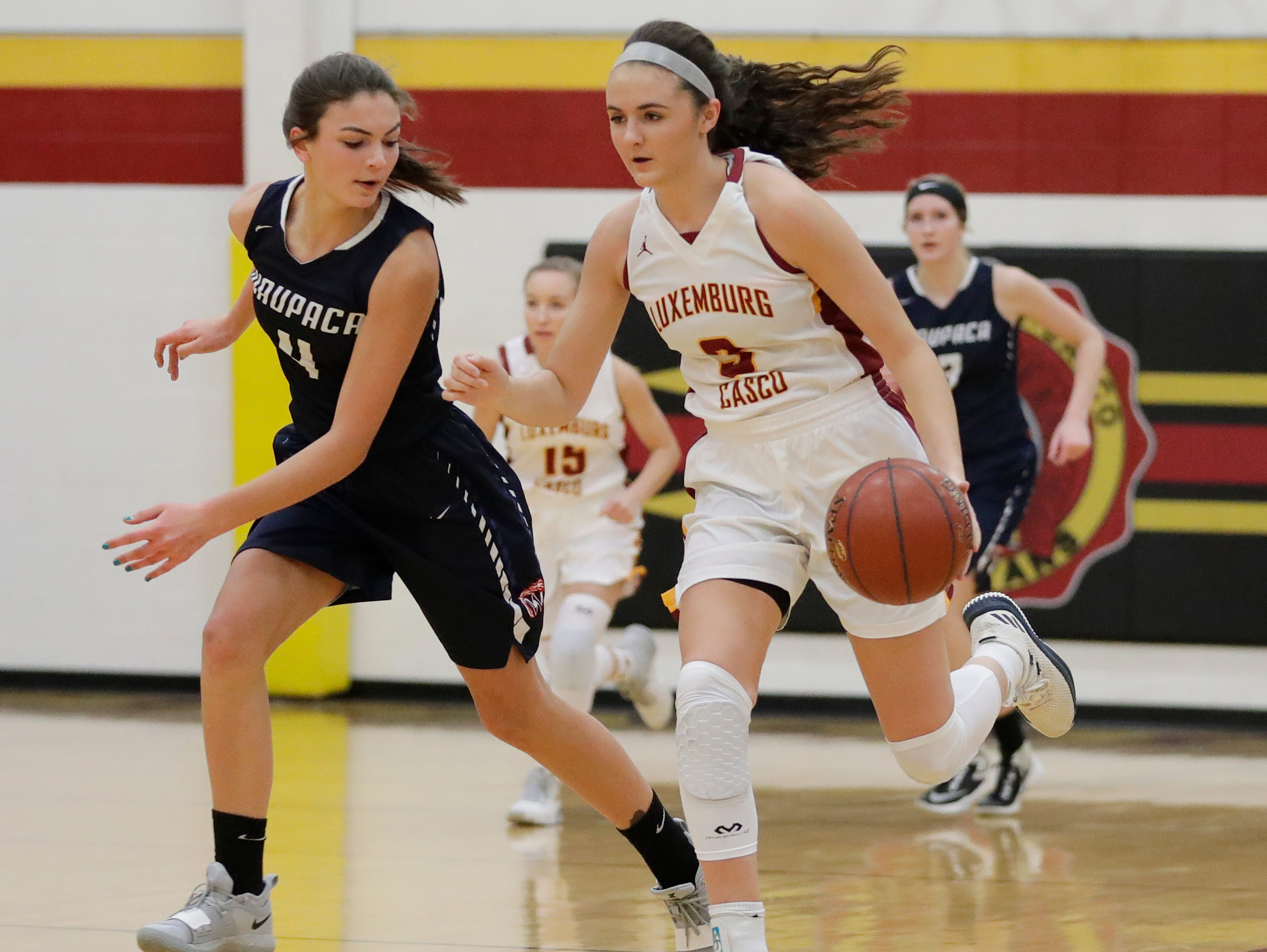 Luxemburg-Casco's Cassie Schiltz (3) gets a steal on her way to breaking the school's all-time scoring record with her 1679th point in a girls basketball game against Waupaca at Luxemburg-Casco high school on Thursday, January 10, 2019 in Luxemburg, Wis. The record was previously set at 1678 by Rachel Porath in 2004.