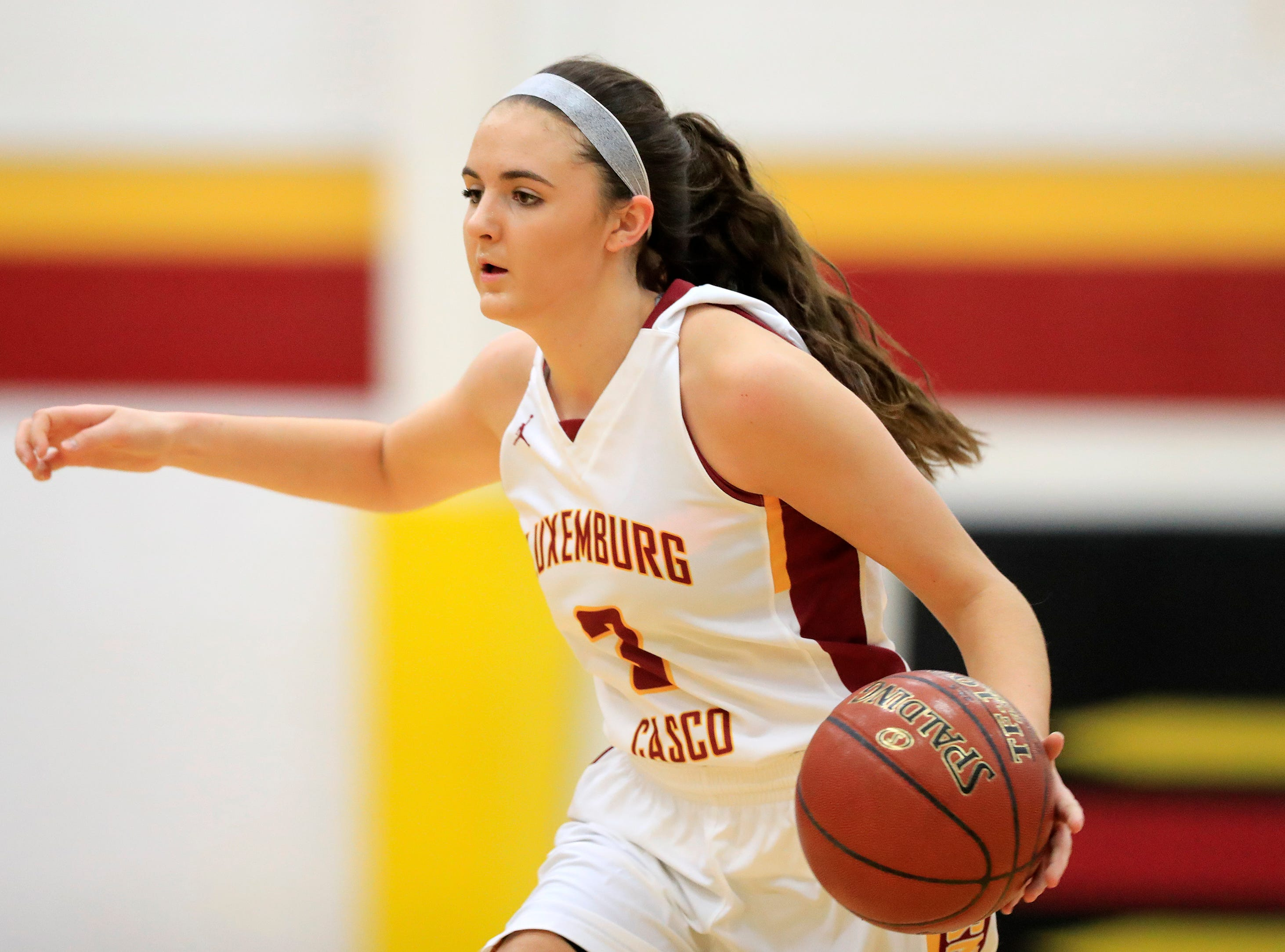 Luxemburg-Casco's Cassie Schiltz (3) brings the ball up the court against Waupaca in a girls basketball game at Luxemburg-Casco high school on Thursday, January 10, 2019 in Luxemburg, Wis.