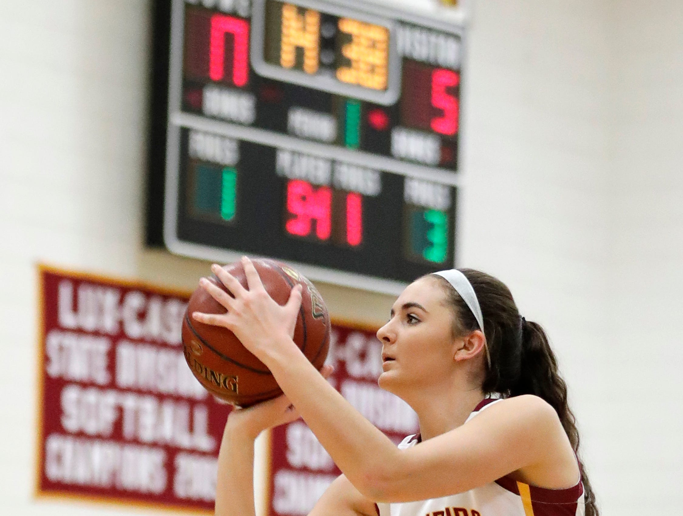 Luxemburg-Casco's Cassie Schiltz (3) shoots against Waupaca in a girls basketball game at Luxemburg-Casco high school on Thursday, January 10, 2019 in Luxemburg, Wis.