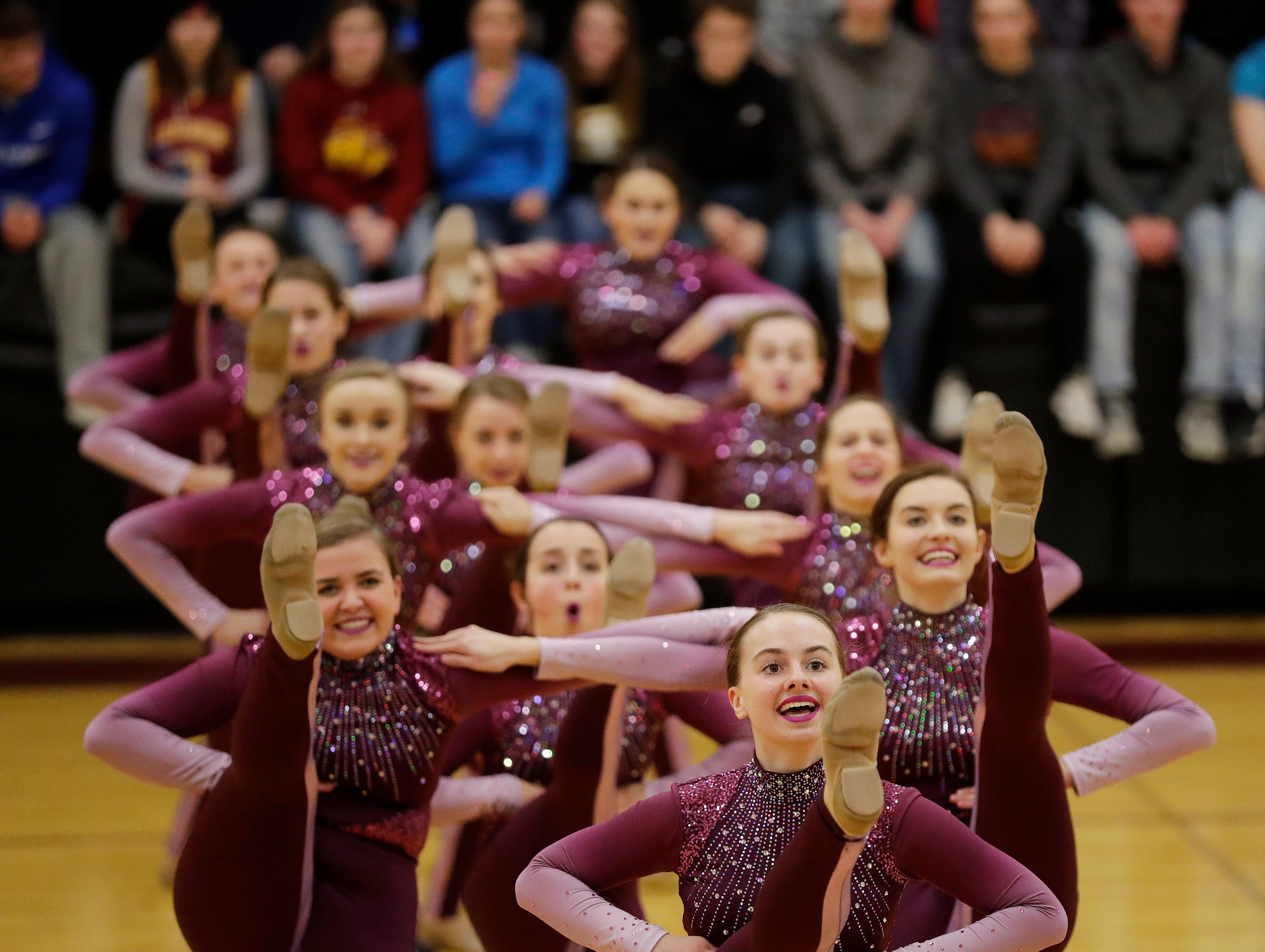 Luxemburg-Casco's dance team performs during half time during a girls basketball game against Waupaca at Luxemburg-Casco high school on Thursday, January 10, 2019 in Luxemburg, Wis.