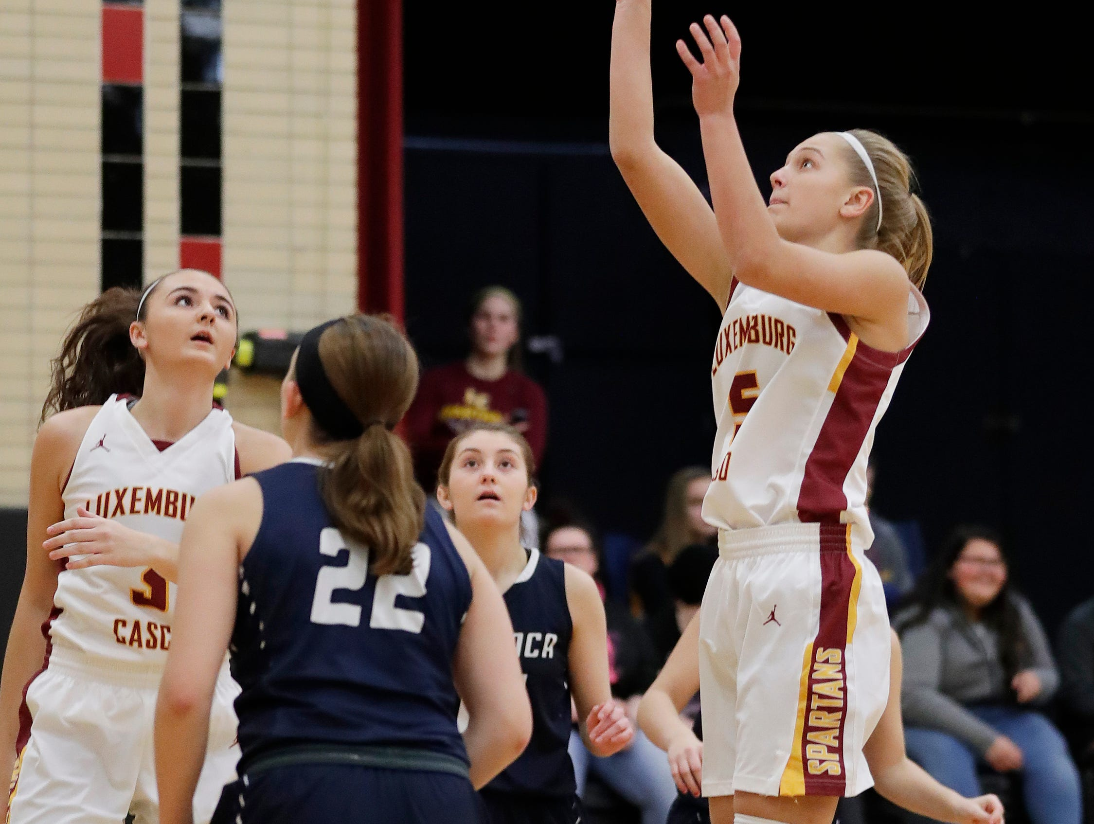 Luxemburg-Casco's Jenna Jorgensen (5) shoots against Waupaca in a girls basketball game at Luxemburg-Casco high school on Thursday, January 10, 2019 in Luxemburg, Wis.