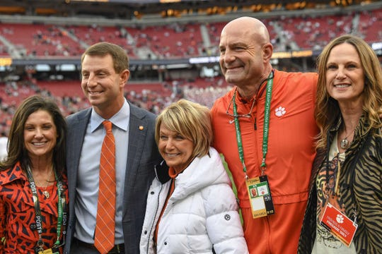 Clemson Head Coach Dabo Swinney with wife Kathleen, left, his mother Carol McIntosh, brother Tracy Swinney, and Tammy Swinney before the Alabama game at the College Football Championship at Levi's Stadium in Santa Clara, California Monday, January 7, 2019.