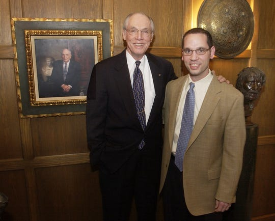 Dr. Bob Jones III , on left, and his son Stephen Jones, right, stand in the president's office at Bob Jones University Thursday, Jan. 20, 2005, with a portrait of Dr. Jones' father, Bob Jones Sr. beside them. Stephen Jones is taking over as president of the university as Dr. Jones steps down.