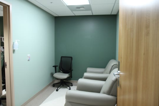 The forensic room in the Sexual Assault Response Suite where the victims or survivors of sexual assault can sit and comfortable with their nurse as they share their story.