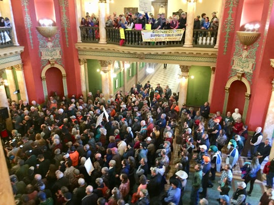 People fill the capitol Friday for the rally in support of public land.
