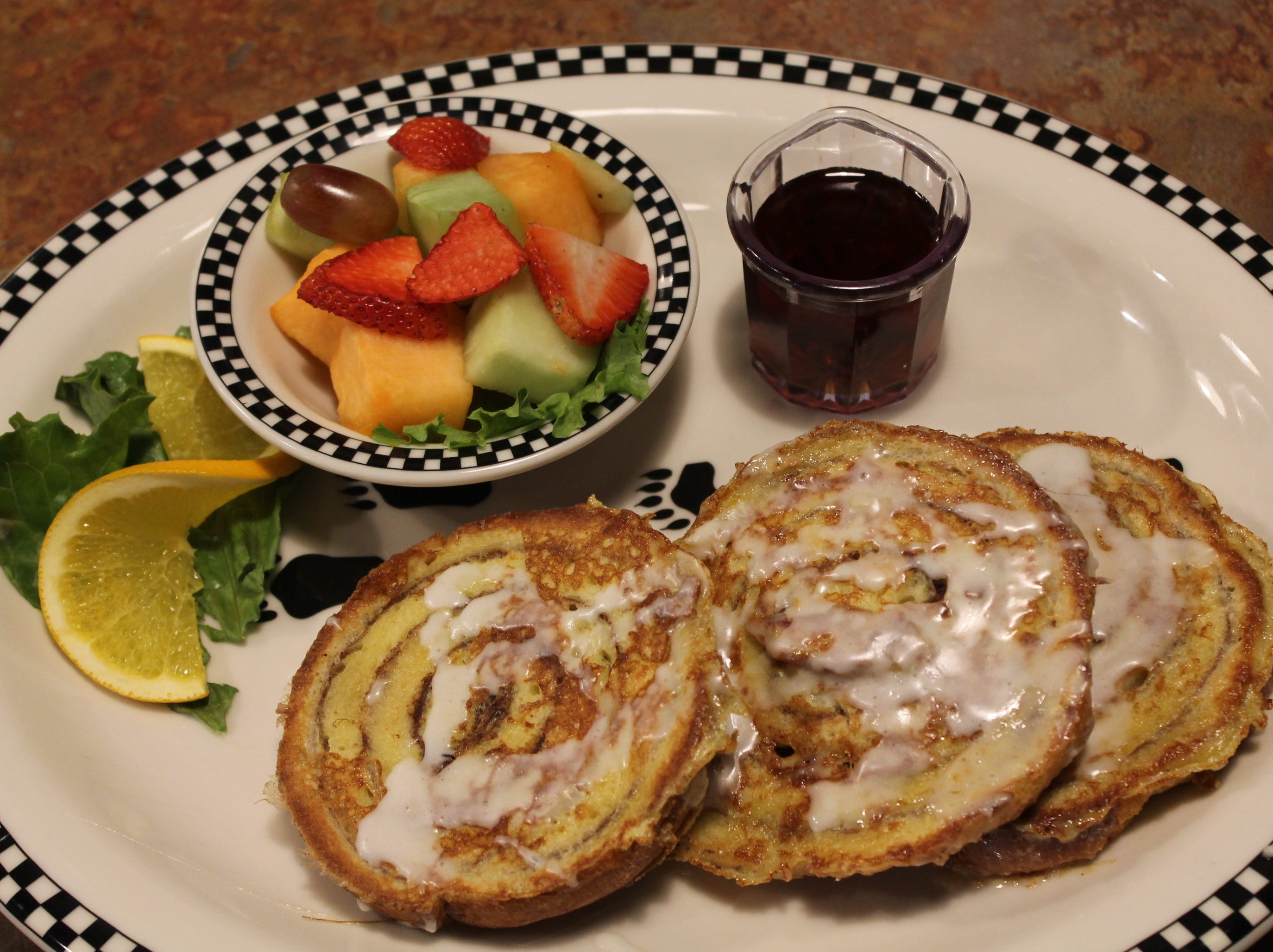Cinnamon roll French toast is served at the Black Bear Diner in Great Falls Marketplace.