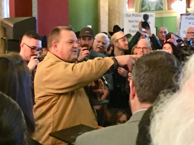Sen. Jon Tester, D-Mont., speaks to the crowd Friday at the public land rally in Helena.