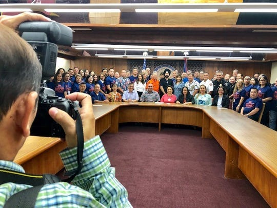 Gov. Lou Leon Guerrero and Lt. Gov. Joshua Tenorio join senators, officials and employees of A.B. Won Pat International Airport Guam for a group photo after the governor signed on Jan. 11 at Adelup her first proclamation, declaring Jan. 13 to 19 as Airport Week 2019.