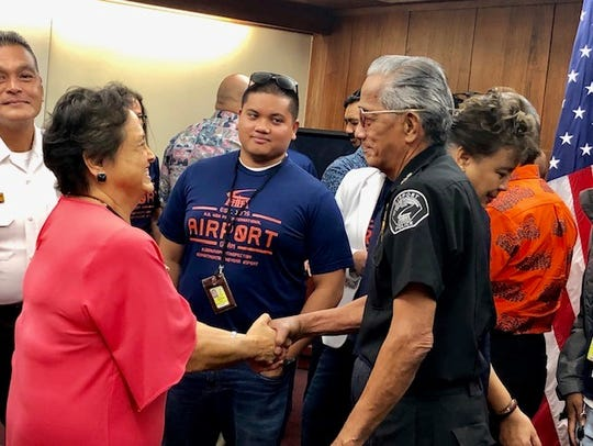 Gov. Lou Leon Guerrero shakes hands with A.B. Won Pat International Airport Guam employees and officials on Friday morning, after signing her first proclamation as governor, declaring Jan. 13 to 19 as Airport Week 2019.