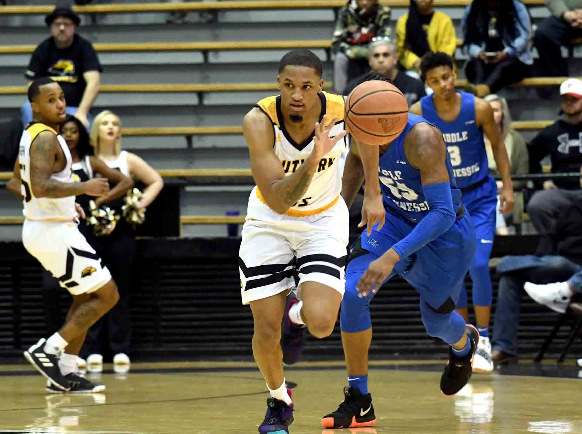 Southern Miss guard Cortez Edwards steals the ball in a game against Middle Tennessee in Reed Green Coliseum on Thursday, January 10, 2019.
