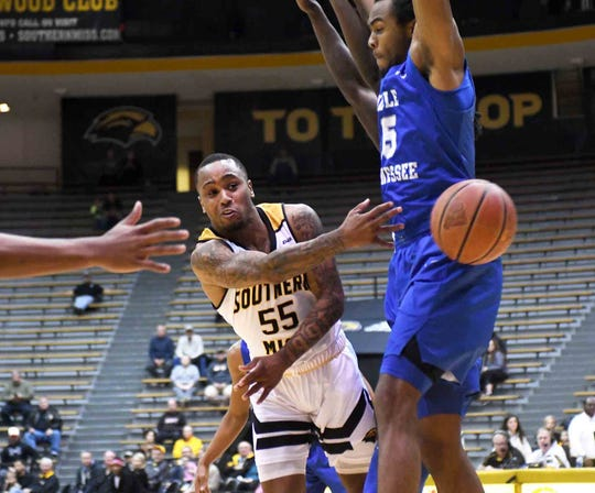 Southern Miss guard Tyree Griffin (55) dished out eight assists to go with his 20 points, but Southern Miss fell on the road at Old Dominion Saturday.
