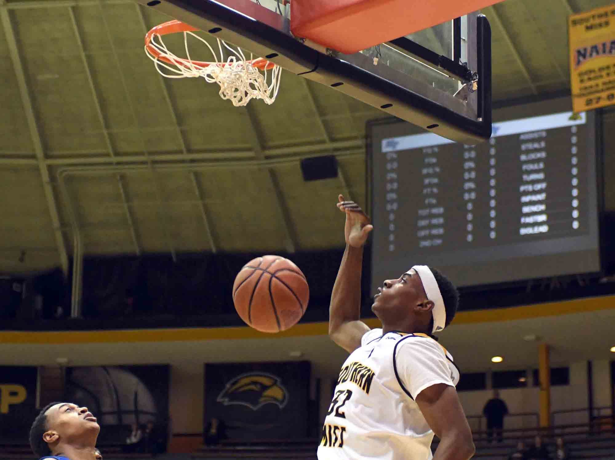 Southern Miss forward Leonard Harper-Baker dunks the ball in a game against Middle Tennessee in Reed Green Coliseum on Thursday, January 10, 2019.