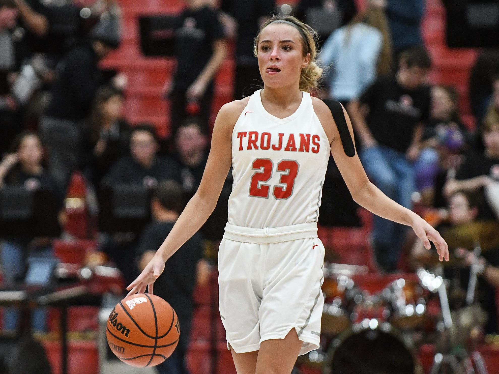 FILE — Center Grove guard Emma Utterback scored a game-high 23 points in Tuesday's sectional win over Martinsville.