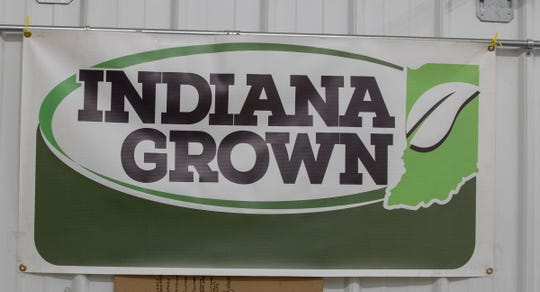 A banner for the Indiana Grown organization on the farm of Mark Boyer, Converse, Wednesday, Jan. 9, 2019. The group is billed as supporting a new generation of Hoosier farmers.