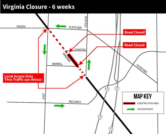 A block of Virginia Avenue will be closed for six weeks in Fletcher Place for Red Line work.