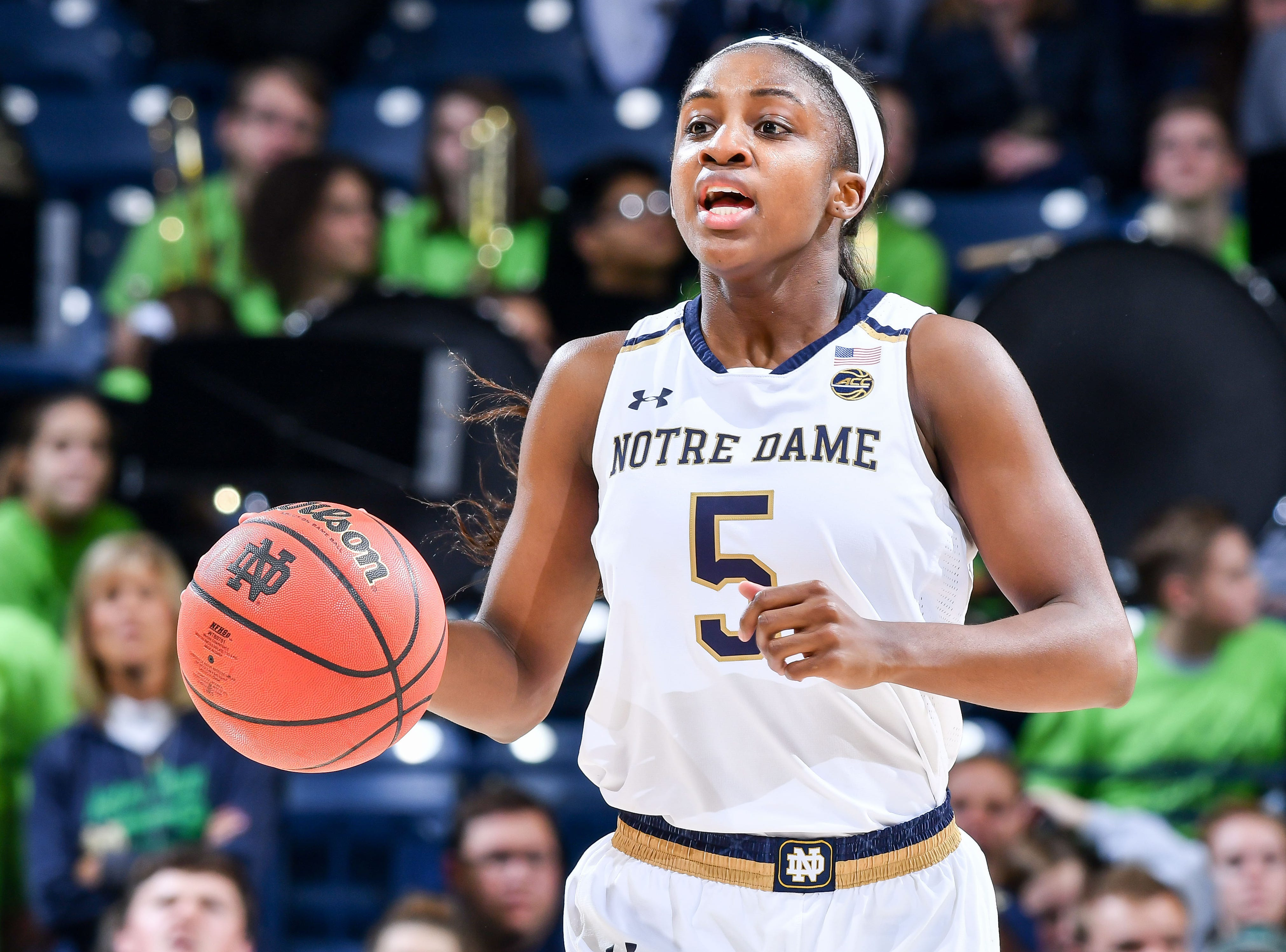 Jan 10, 2019; South Bend, IN, USA; Notre Dame Fighting Irish guard Jackie Young (5) dribbles in the second half against the Louisville Cardinals at the Purcell Pavilion. Mandatory Credit: Matt Cashore-USA TODAY Sports