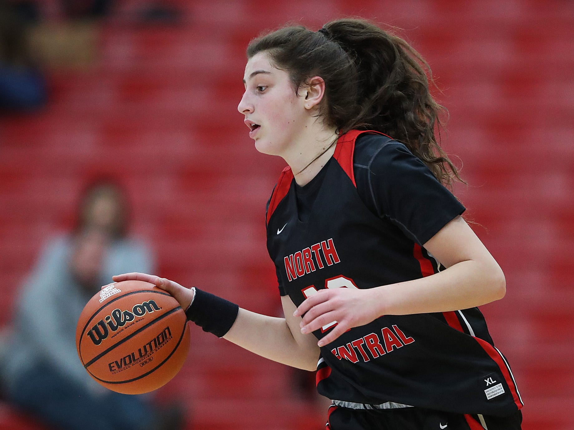 North Central Panthers forward Meg Newman (42) works a possession in the second half of the game at Center Grove High School in Greenwood, Ind., Thursday, Jan. 10, 2019. Center Grove defeated North Central, 51-44.