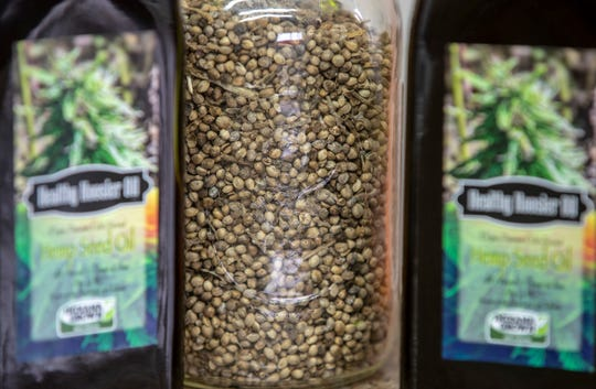 Hemp seeds on the farm of Mark Boyer, Converse, Wednesday, Jan. 9, 2019. The sixth generation family farm grows corn, and makes oil from sunflowers, canola, and hemp, which is part of a research plot.