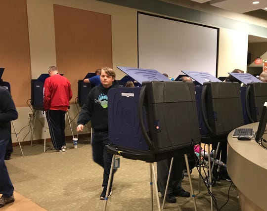 Johnson County voters cast ballots at the vote center inside Mount Pleasant Christian Church in Greenwood on Nov. 6, 2018.