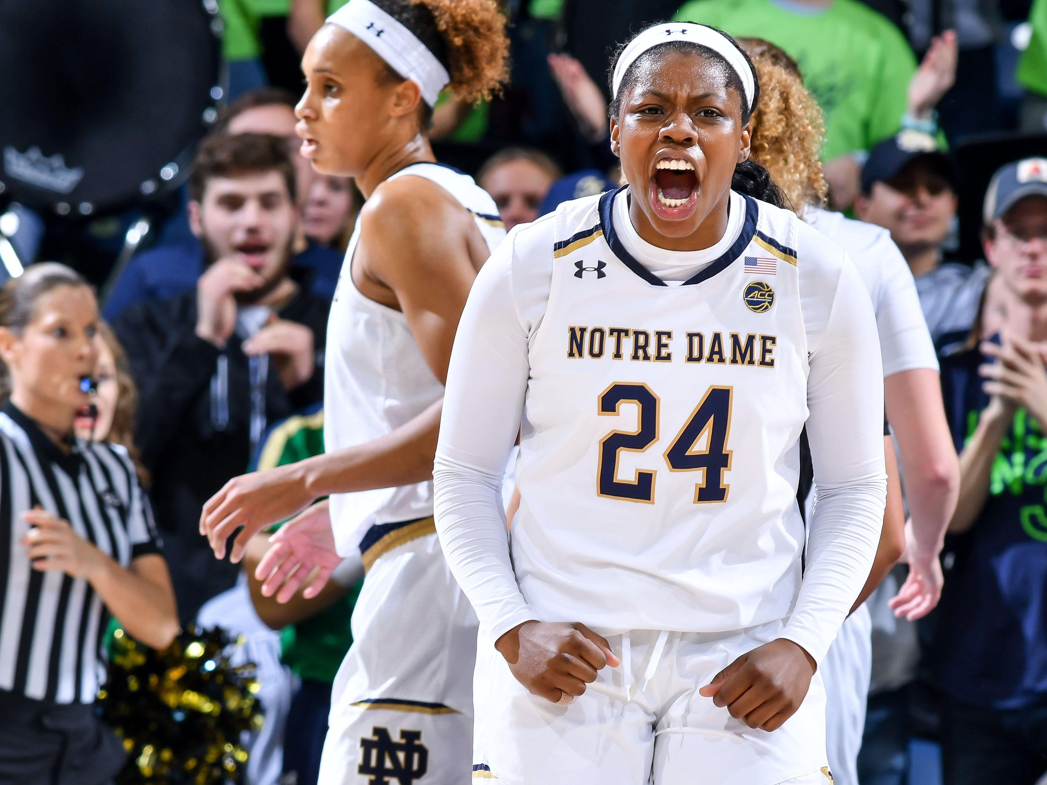 Jan 10, 2019; South Bend, IN, USA; Notre Dame Fighting Irish guard Arike Ogunbowale (24) reacts in the second half against the Louisville Cardinals at the Purcell Pavilion. Mandatory Credit: Matt Cashore-USA TODAY Sports