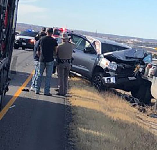 The scene of an accident on Interstate 20 near Crash scene in Sweetwater, Texas on Dec. 22, 2018, that involved an 18-wheeler and two pickup trucks.