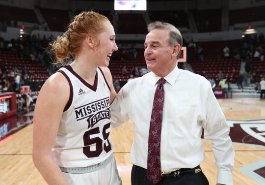 Mississippi State head coach Vic Schaefer celebrates with sophomore Chloe Bibby after the team's win over Georgia on Jan. 10.