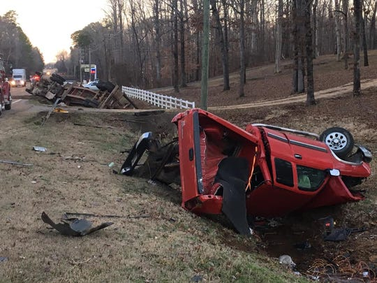Two people were injured in a crash in Hardin County that left two vehicles overturned in ditches beside State Route 57.