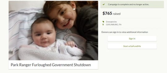 Gatlinburg's Taylor Futch created a GoFundMe page to help pay her family's  bills while her husband, a park ranger at the Great Smoky Mountains National Park, is furloughed due to the partial government shutdown. Futch closed the account Thursday, afraid for her husband's job security.