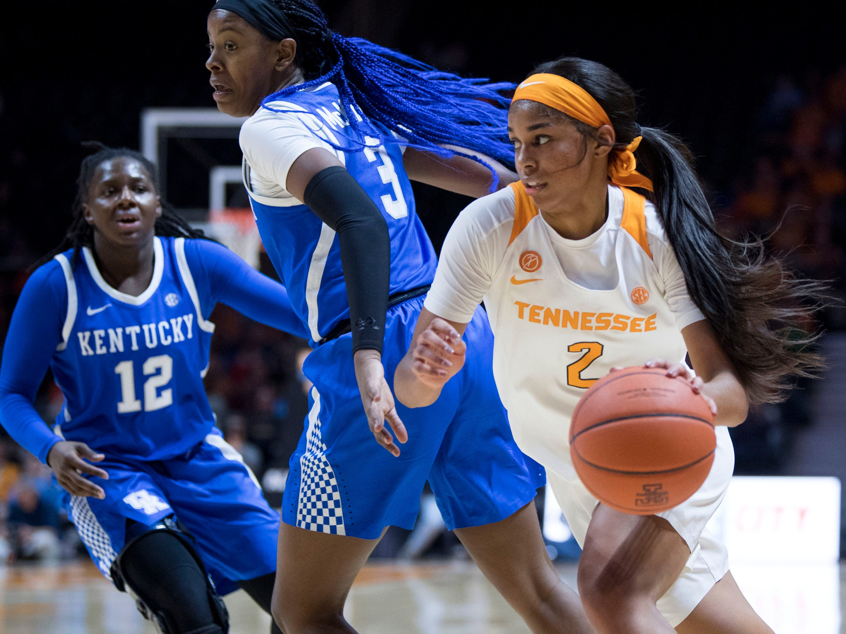 Tennessee's Evina Westbrook (2) drives towards the basket while guarded by Kentucky's KeKe McKinney (3) on Thursday, January 10, 2019.