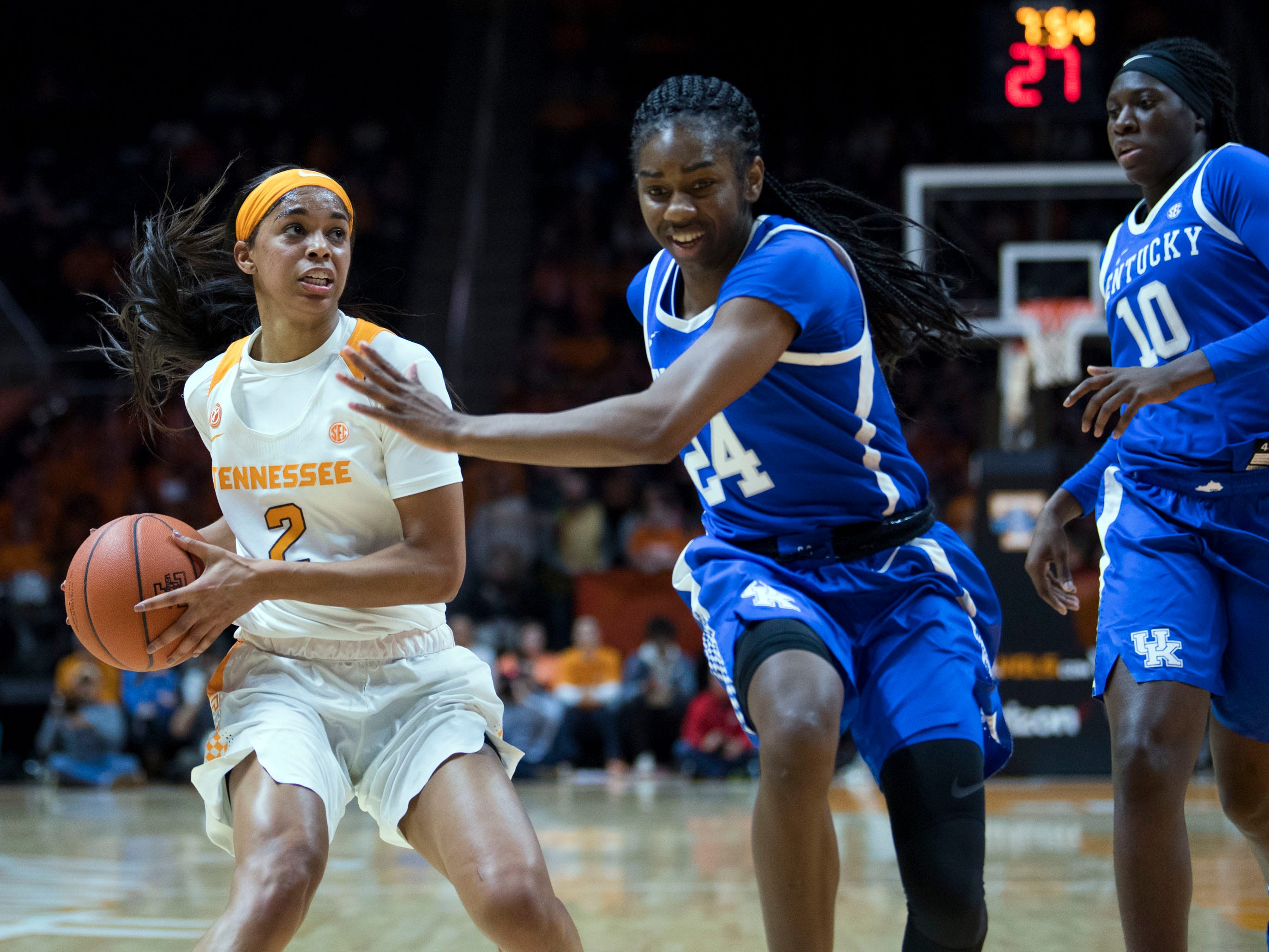 Tennessee's Evina Westbrook (2) looks to the basket while guarded by Kentucky's Taylor Murray (24) on Thursday, January 10, 2019.