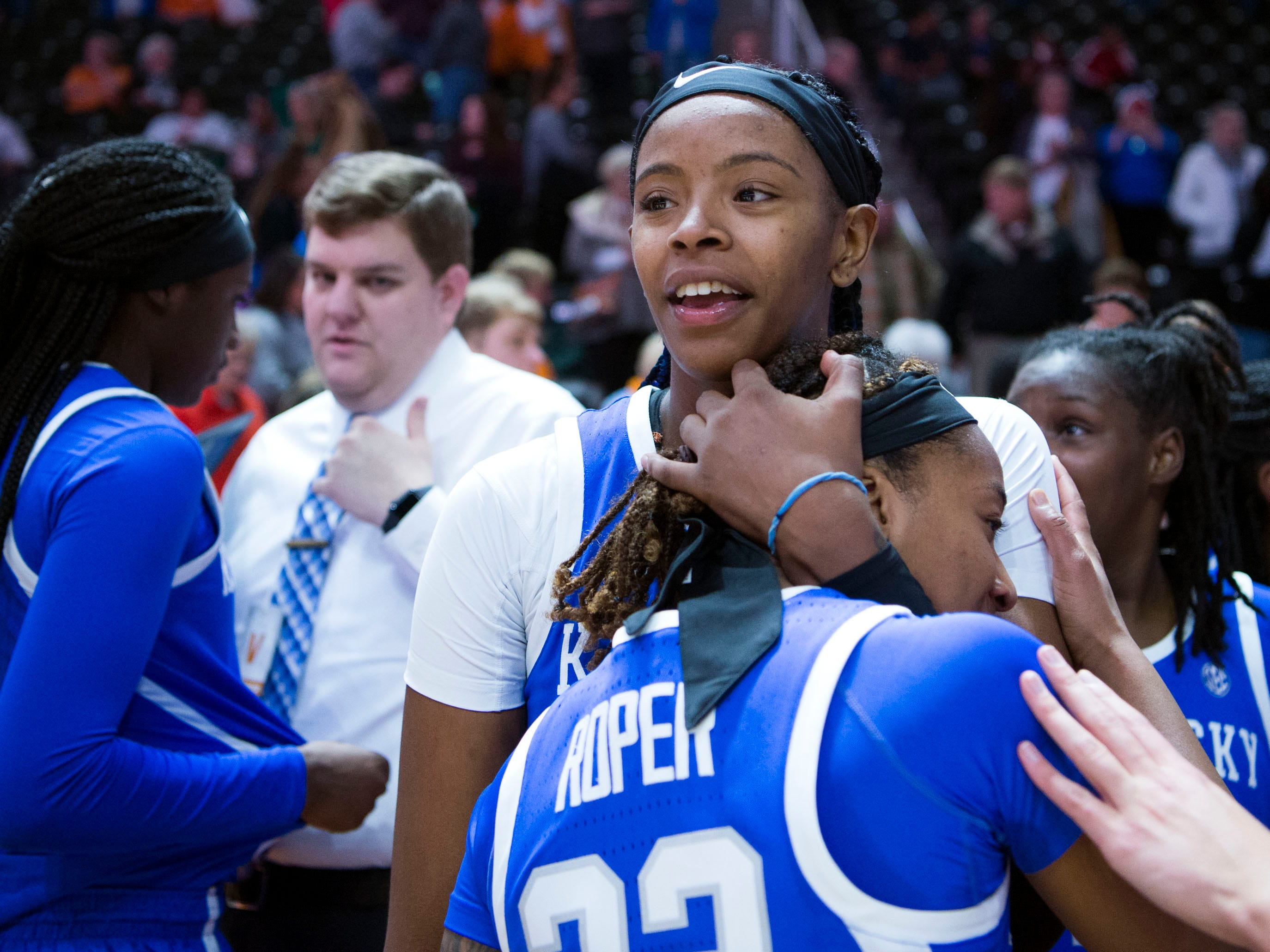 Kentucky's KeKe McKinney (3) celebrates the 73-71 victory over Tennessee with Jaida Roper (32) on Thursday, January 10, 2019.