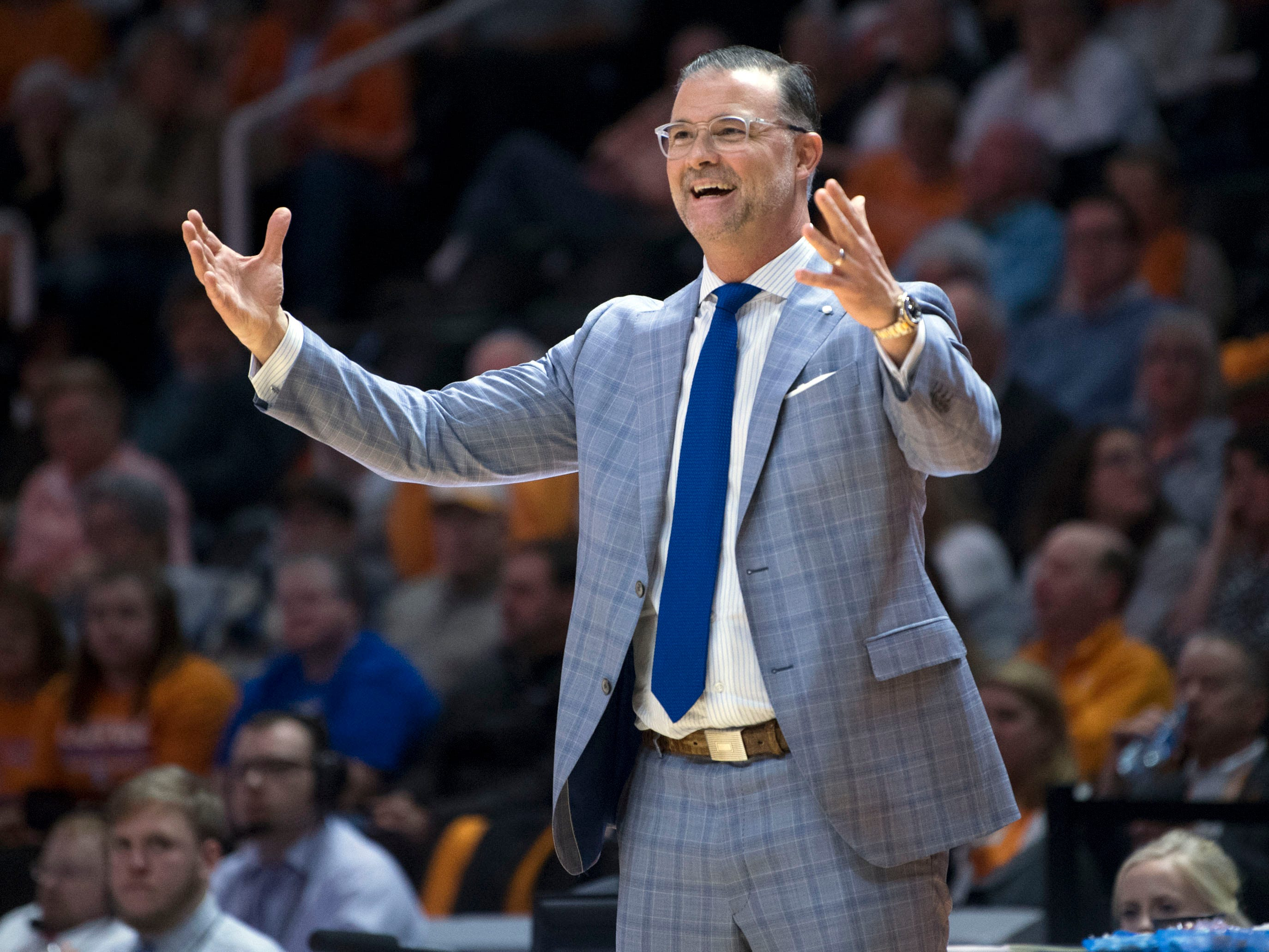 Kentucky women's basketball coach Matthew Mitchell responds to an official's call against his team during the game against Tennessee on Thursday, January 10, 2019.