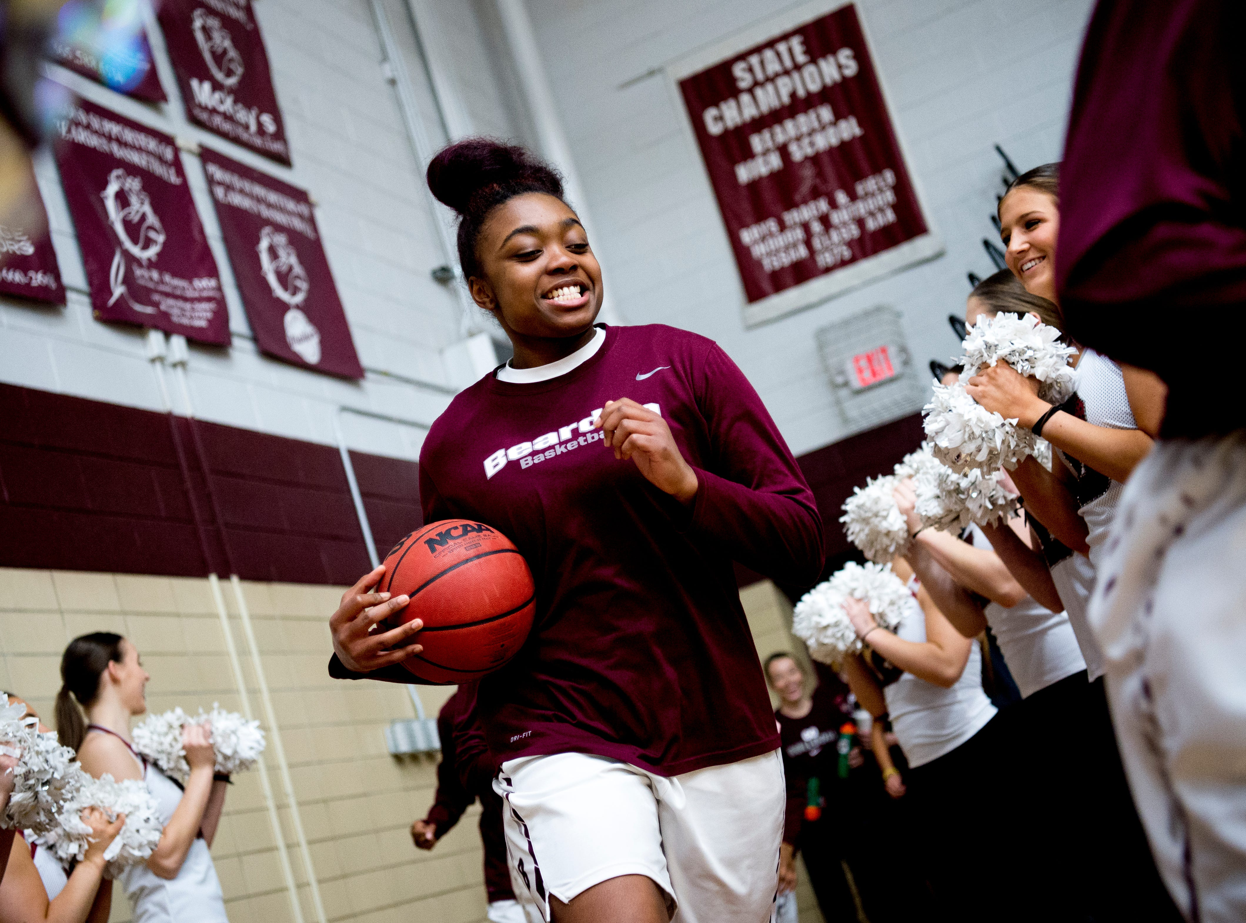 Bearden's Jakhyia Davis (42) runs from the locker room during a game between Bearden and Catholic at Bearden High School in Knoxville, Tennessee on Thursday, January 10, 2019.