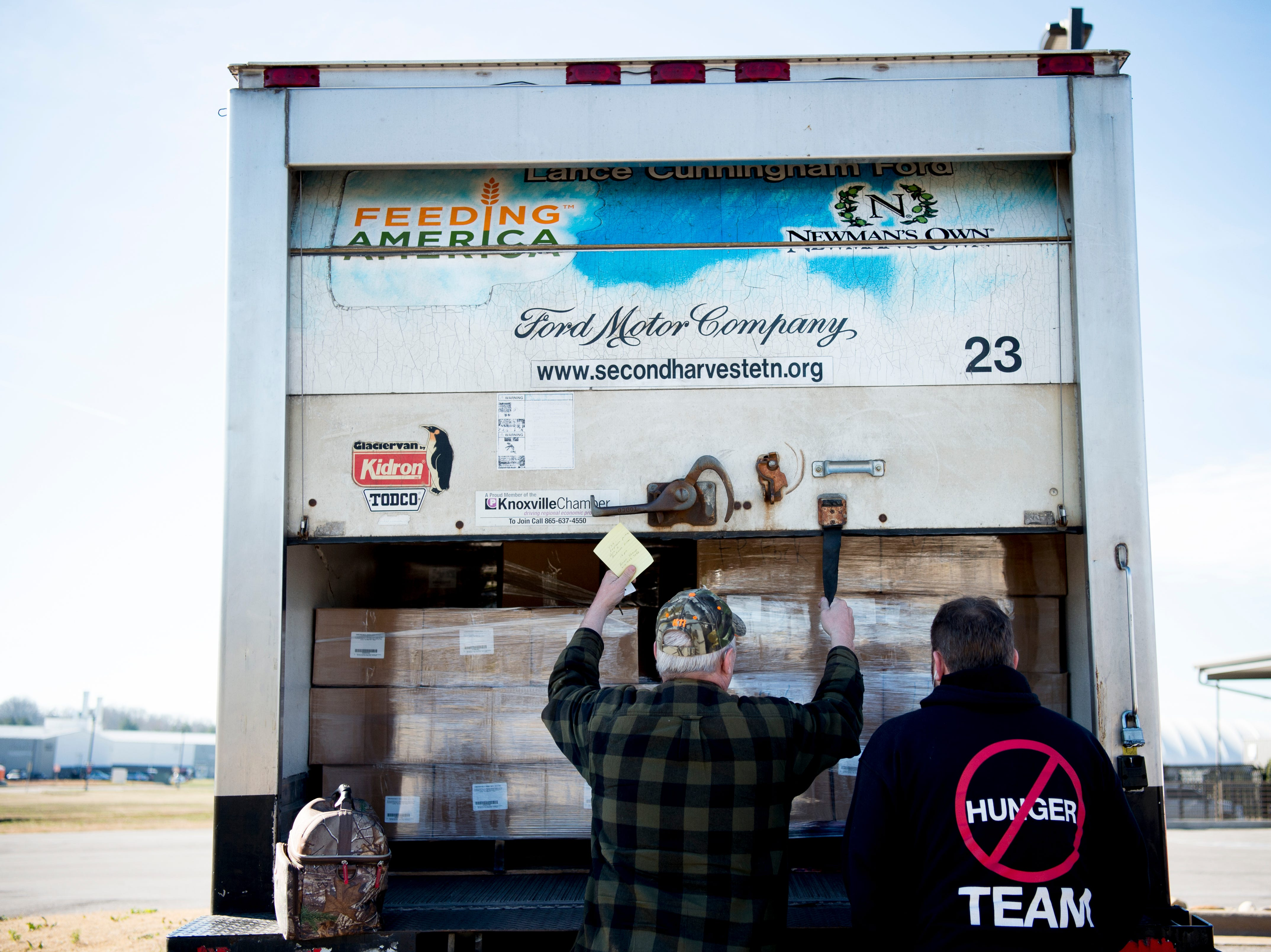 The Second Harvest Food Bank truck arrives at McGhee Tyson Airport in Alcoa, Tennessee on Friday, January 11, 2019. Filling an 'unprecedented request,' Second Harvest Food Bank sent emergency food supplies to TSA workers.
