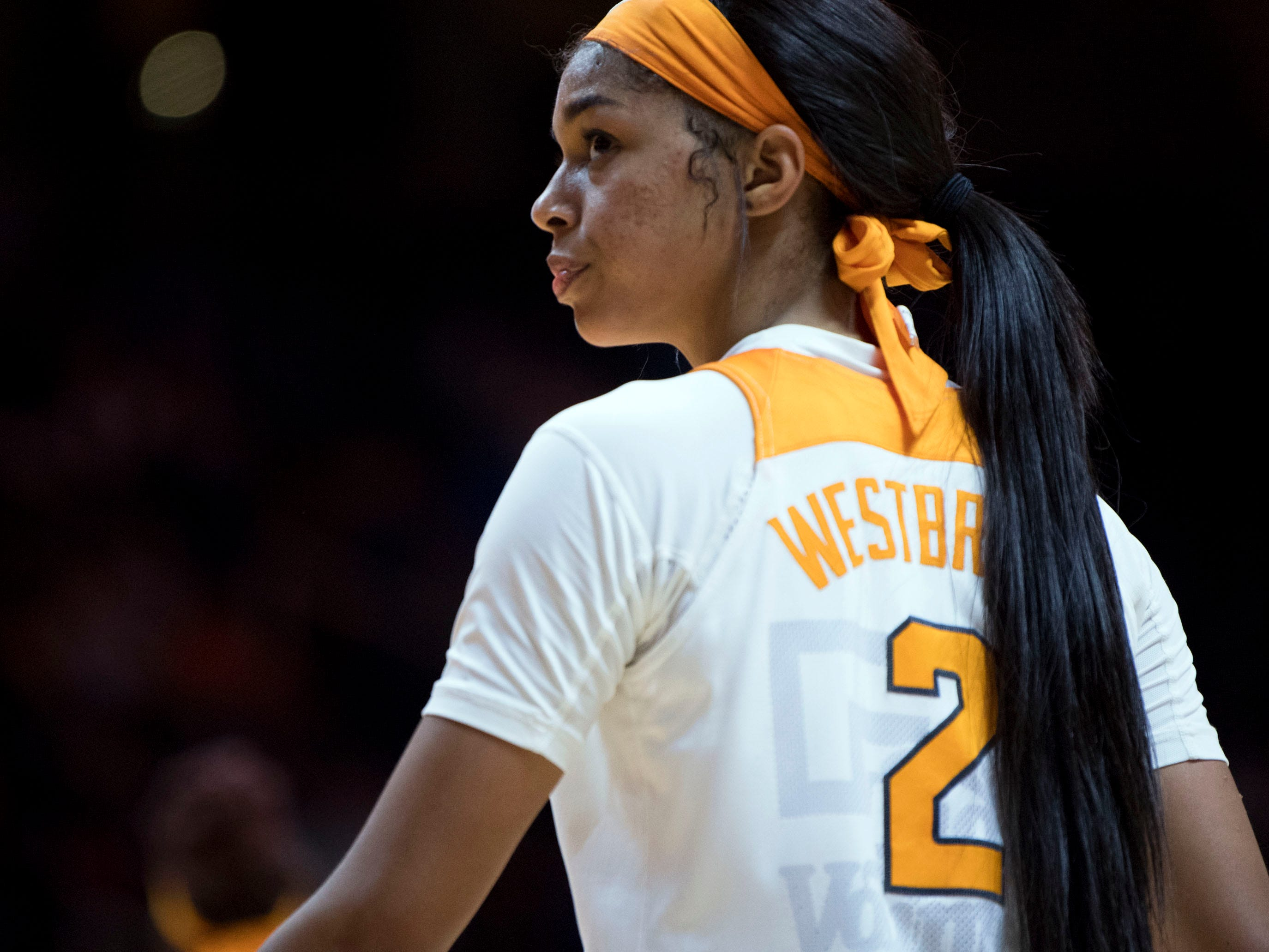 Tennessee's Evina Westbrook (2) looks out into the seats as she makes her way to the benches after Tennessee's 73-71 loss to Kentucky on Thursday, January 10, 2019.