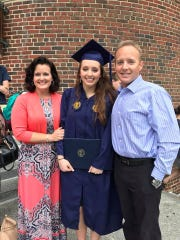 Cindy Lewis, Heather Lewis Lievsay, and Dr. Bobby Lewis at Lievsay's graduation from University of North Carolina at Greensboro, May, 2017.