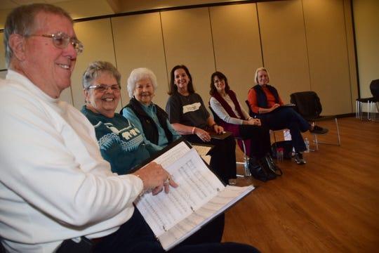 Six of the 15 choir members gather Jan. 4 to practice patriotic songs at Karns Senior Center: Bob Godsmark, Betty Thompson, Lois McGinnis, Peggy Shaw, Deanna Gray, Susan Emert.