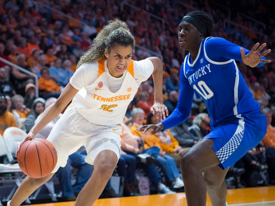 Tennessee's Rae Burrell (12) tries to get by Kentucky's Rhyne Howard (10) on Thursday, January 10, 2019.