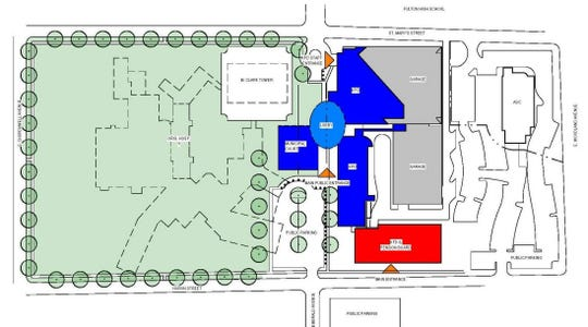 A rendering of the site plan for the safety center and surrounding property that formerly housed Tennova Physicians Regional Medical Center.