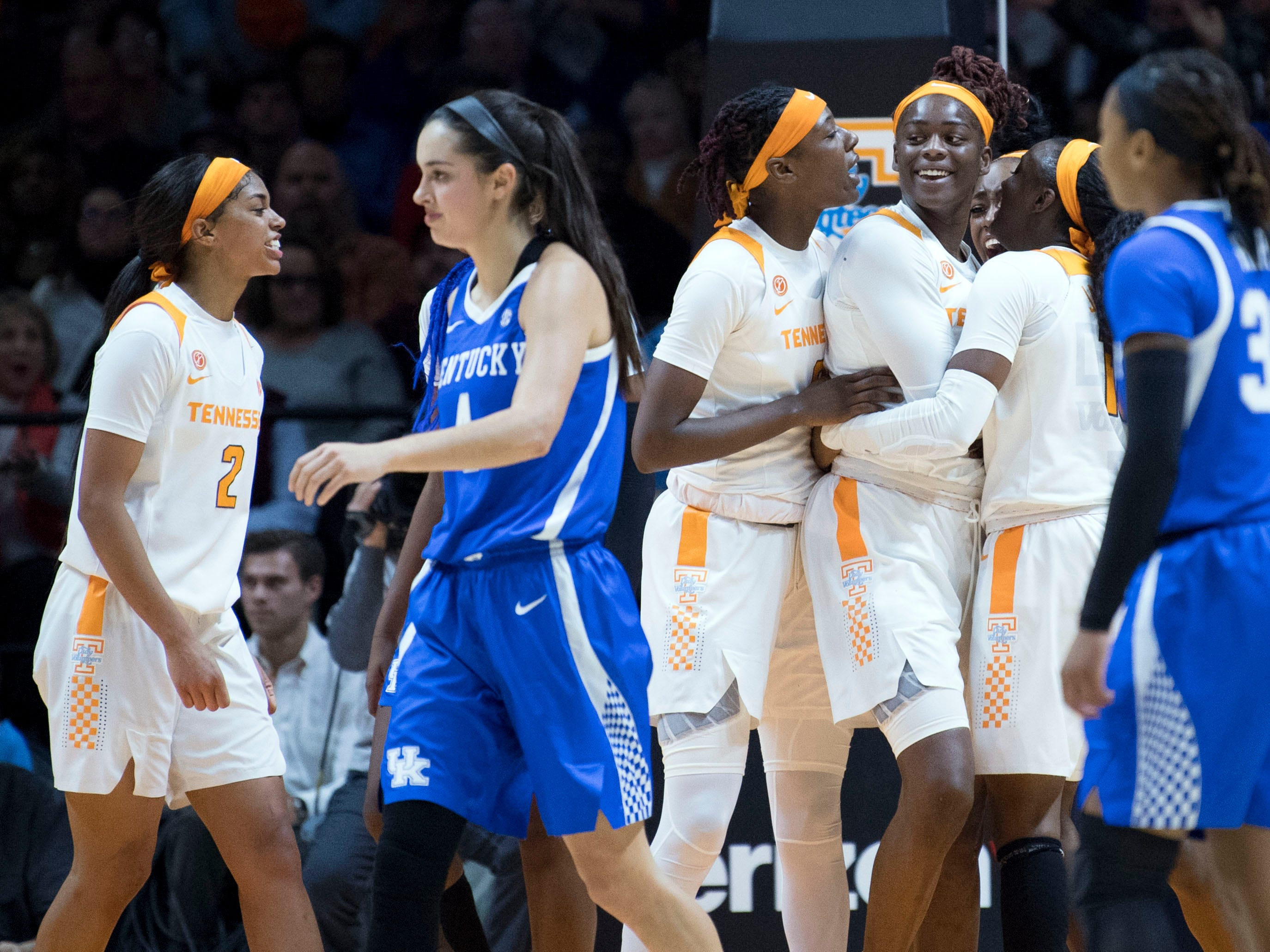 Tennessee players celebrate as Cheridene Green (15) took a charge by Kentucky's Maci Morris (4) for her 5th foul of the game on Thursday, January 10, 2019.