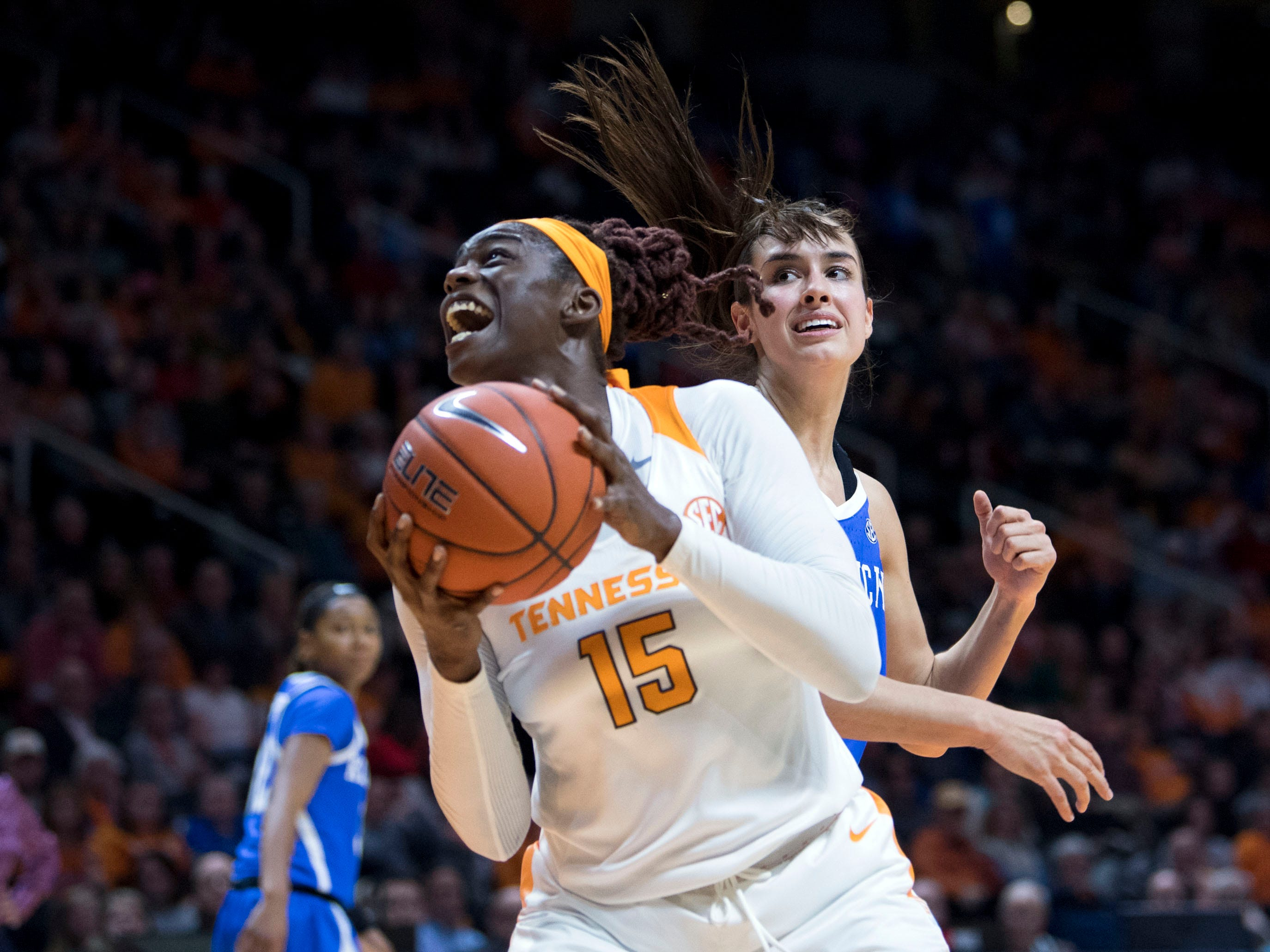 Tennessee's Cheridene Green (15) looks to score while guarded by Kentucky's Maci Morris (4) on Thursday, January 10, 2019.