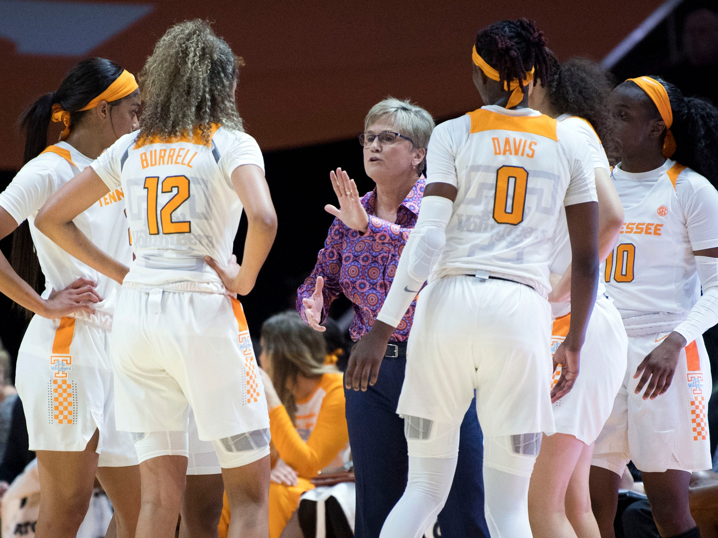 Tennessee women's basketball coach Holly Warlick walks with her team during the game against Kentucky on Thursday, January 10, 2019.
