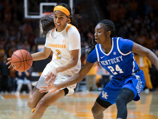 Tennessee's Evina Westbrook (2) is guarded by Kentucky's Taylor Murray (24) on Thursday, January 10, 2019.