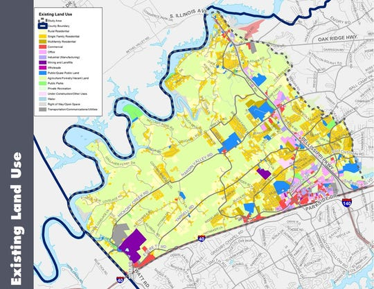 A map showing current land use zonings for the Hardin Valley area, which is currently under a mobility study by the MPC.