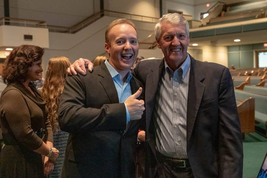 Dr. Bobby Lewis is all smiles with retired senior pastor, Ron Stewart, after being voted in as senior pastor at Grace Baptist Church Sunday, Nov. 11.