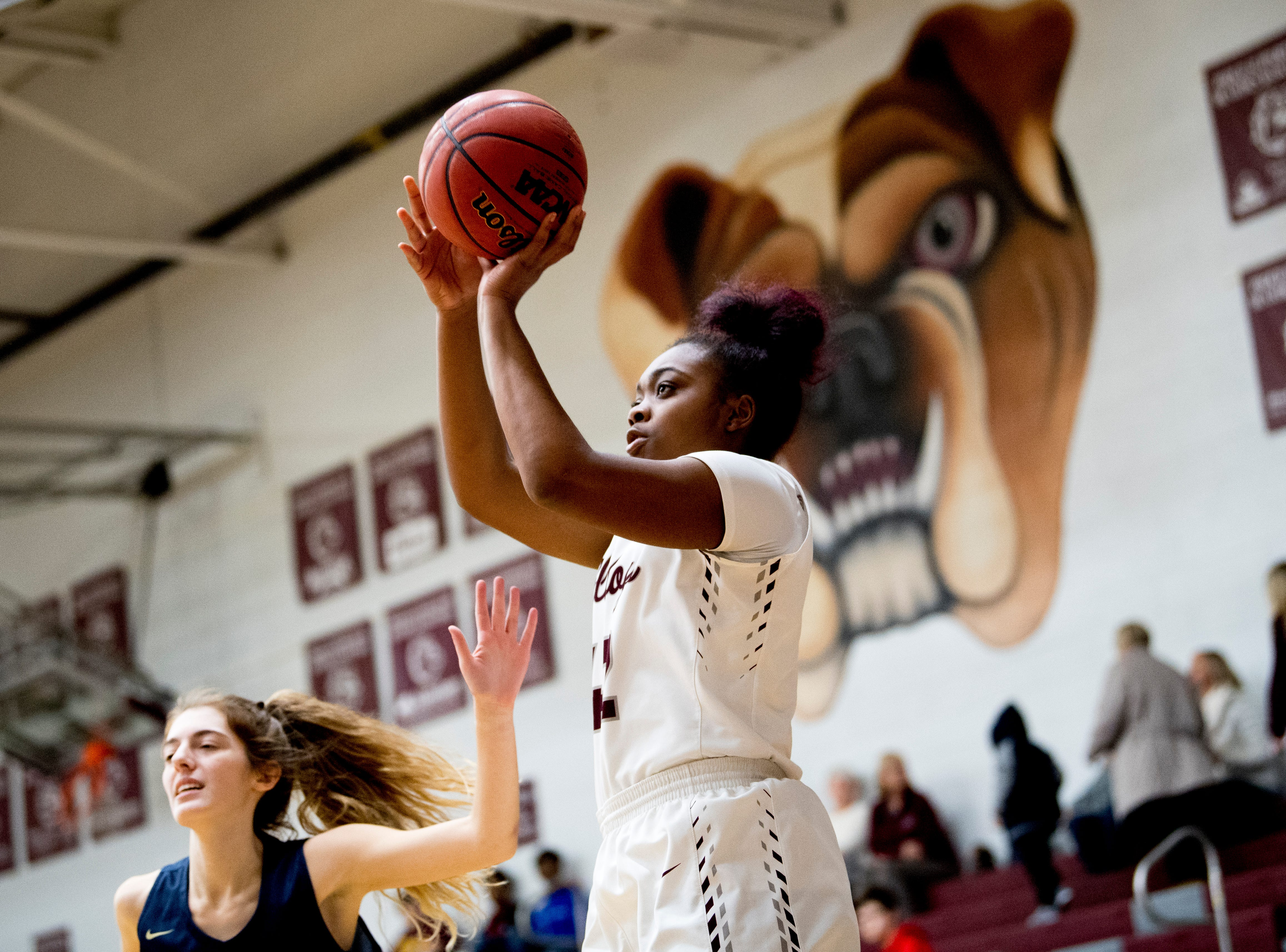 Bearden's Jakhyia Davis (42) shoots the ball during a game between Bearden and Catholic at Bearden High School in Knoxville, Tennessee on Thursday, January 10, 2019.